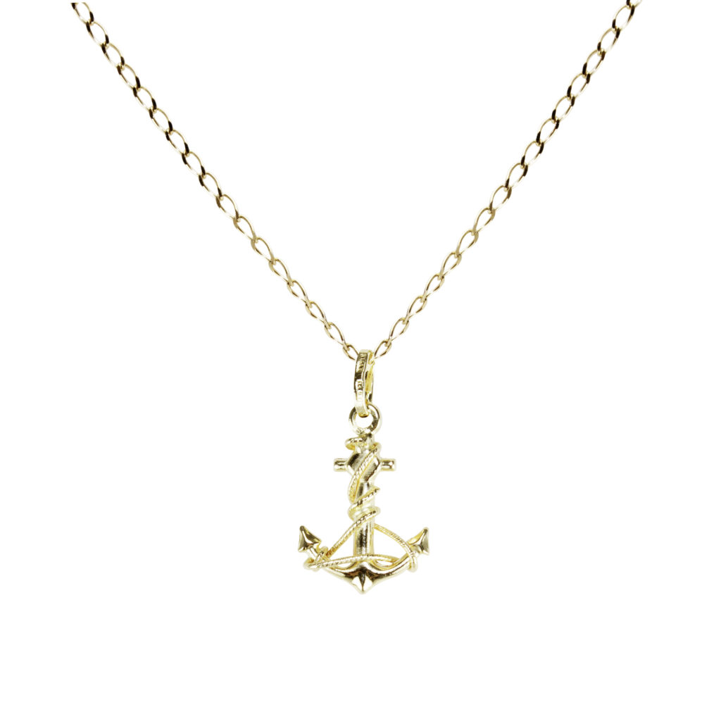 14k yellow gold anchor pendant necklace anchor design stability 14k yellow gold anchor pendant necklace anchor design stability strength 16 18 gold jewelry italian gold inc aloadofball Choice Image