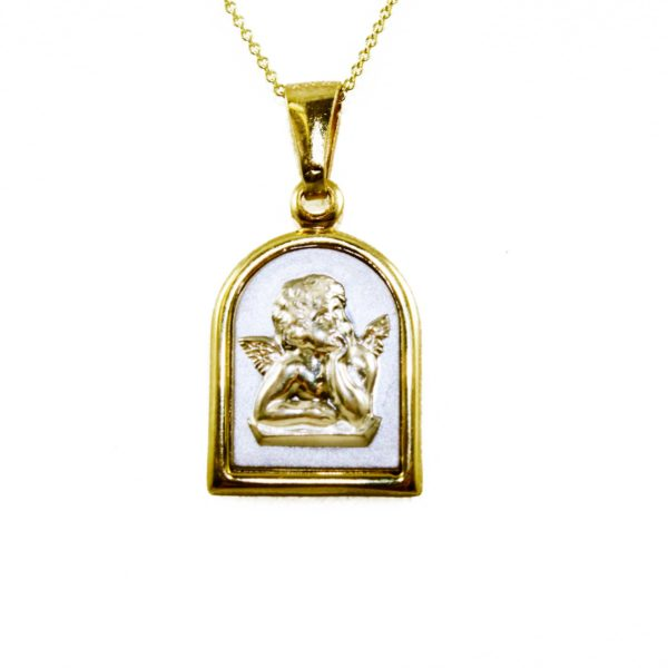Italian gold 14k two tone gold 3d cherub angel pendant chain 21450 aloadofball Image collections